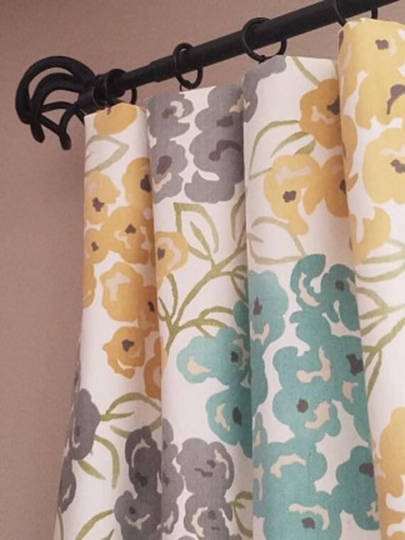 Aqua Teal Yellow And Gray Curtains Yellow And Gray Etsy