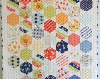 Happy Go Lucky Hexagon Handmade Finished Quilt