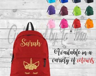 Personalised backpack, Name Unicorn, Back to school bag for kids, Nursery bag