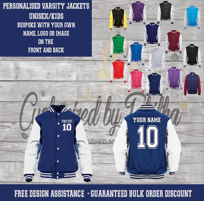 Personalised Custom Varsity Jacket  Name and Number  Unisex image 0