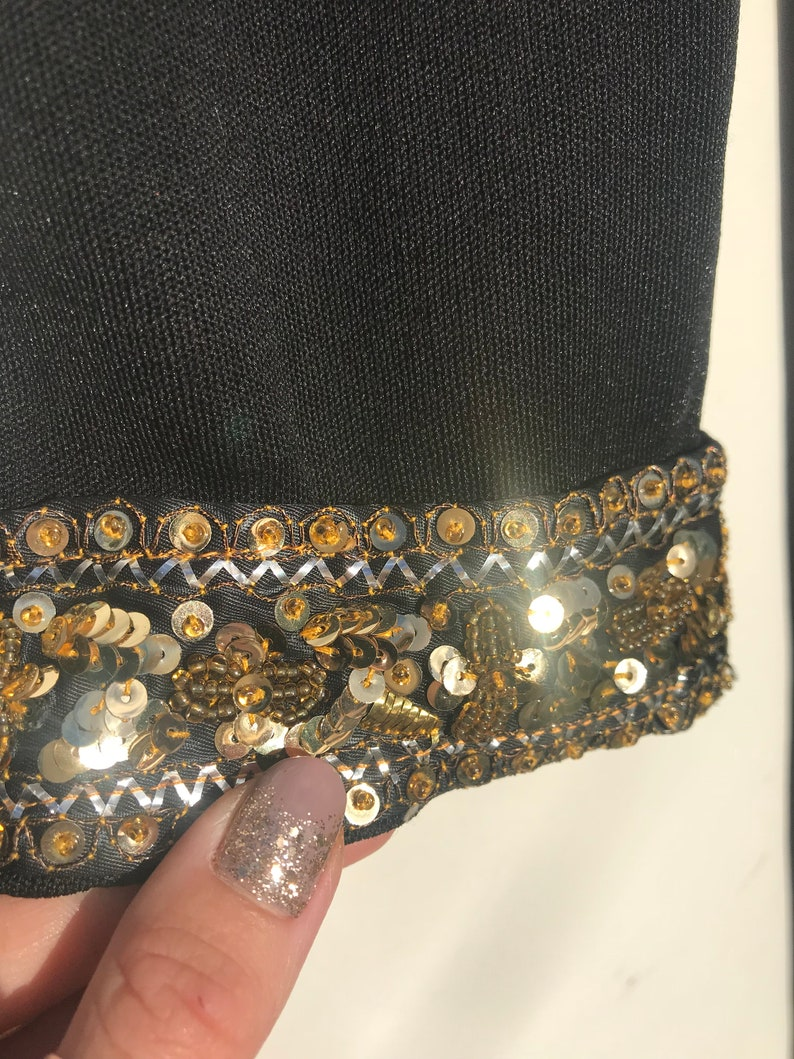 Maxi Dress Approx Size 10. Holiday Dress Black /& Gold 70s Sequin Kaftan Glamourous Body Fully Lined
