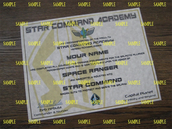 Buzz Lightyear Star Command Academy Diploma T1 Certificate Etsy