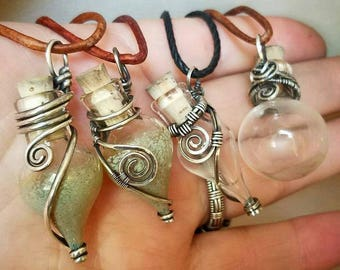 """x12 Mini Vials w/ Corks for Wire Wrapping - Heavy Borosilicate Glass - Supplies - Round - Tear Drop -  Approx 1 3/4"""" - Essential Oils, Ashes"""