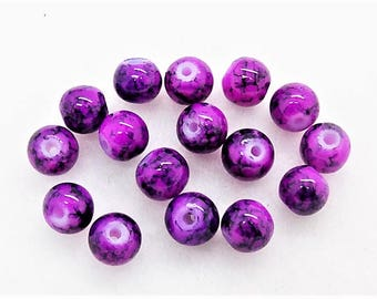 Purple glass beads;  bright violet and purple, round mottled glass beads, 6mm, 15pcs/1.80.