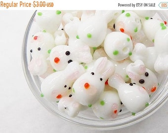 20% OFF Glass bunny beads; perfect for Spring/Easter projects, lampwork glass bunnies, approximately 16x10mm, 5pcs/2.40.
