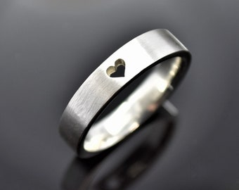Silver Heart Ring, Heart Wedding Band, Simple Heart, Promise Ring, Wedding Band, Couples Ring, Boyfriend Girlfriend Jewelry, Commitment Ring