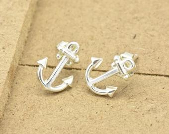 Anchor Stud Earrings, Dainty Earrings, Nautical Earrings, Sterling Silver Anchor Earrings, Gift for Her, Beach Jewelry, Anchor Earrings