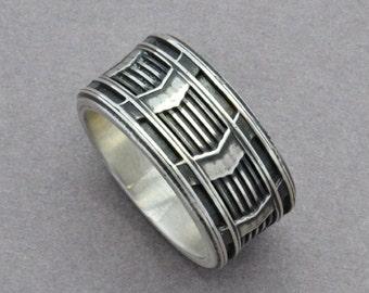 Octane Ring Sterling Silver Statement Ring Men's Wedding Band Gear Ring Geometric Ring Chevron Pattern Ring