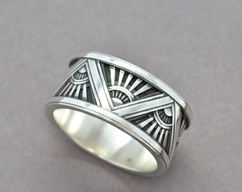Art Deco Ring, Sterling Silver Ring, Men's Ring, Men's Statement Ring, Wedding Band, Mens Wedding Band, Architecture Ring, Geometric Ring