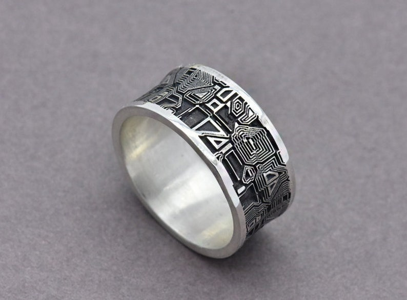 Circuit Board Ring Sterling Silver Men's Wedding Band image 0