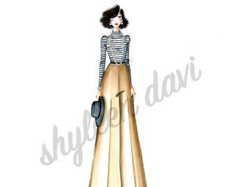 a3f3326fd8e4 Classic Coco Chanel Fashion Illustration Print