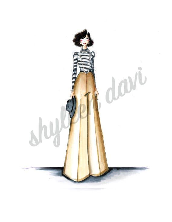 e1073293d6dd Classic Coco Chanel Fashion Illustration Print