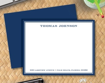 Men's Club Flat Notecards - Correspondence Card Stationery for Man - Masculine Thank You Note Stationary - Traditional Men's Stationery Card