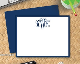 Classic Monogram Flat Notecards -  Correspondence Card Stationery - Personalized Card Stationary - Thank You Note - 3 Initial Monogram