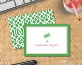 Preppy Palms Folded Notecards - Pink & Green Palm Tree Stationery - Lattice Trellis Pattern - Personalized Beach Theme Foldover Stationary