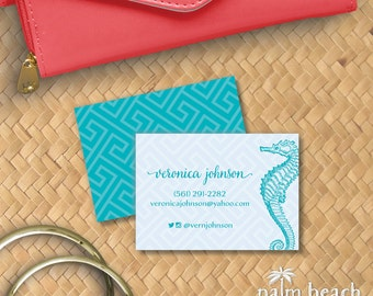 Turquoise Seahorse Calling Cards