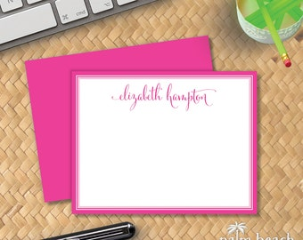 Signature Flat Notecards - Custom Printed Correspondence Card Stationery - Personalized Stationary - Calligraphy Script Thank You Note