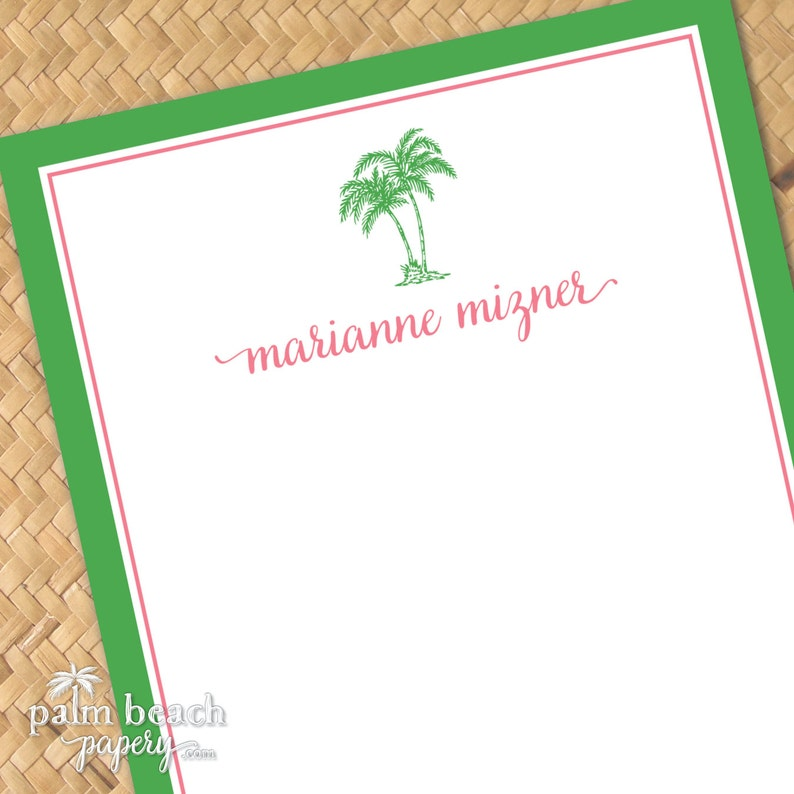 Preppy Palms Notepad 50 or 100 5x7 Sheets Personalized Palm Tree Note Pad Custom Printed Coastal Memo Pad Monogrammed Stationery