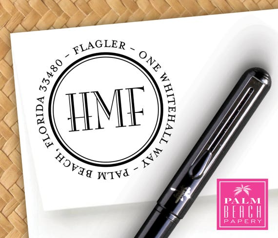 Flagler Monogram Pre Inked Round Stamp - Masculine Personalized Return on