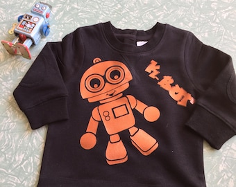 Black jumper with Kymmy's Corners cute K-Bot robot in Copper  size 0 6-12 months