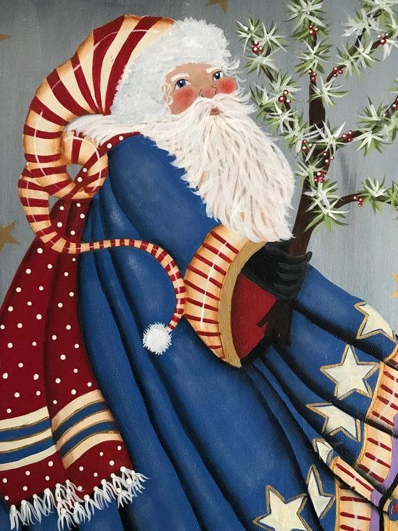 Patriotic Christmas Background.Patriotic Santa Serving Tray Christmas Holiday Decor Serving Tray Old World Santa Vintage Santa Tole Painting Decorative Painting