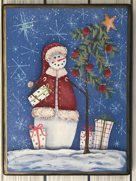 Santa Sign Snowman Sign Christmas Tree Sign Christmas Presents Hand Painted Christmas Gift Wood Sign Christmas Sign Holiday Decor