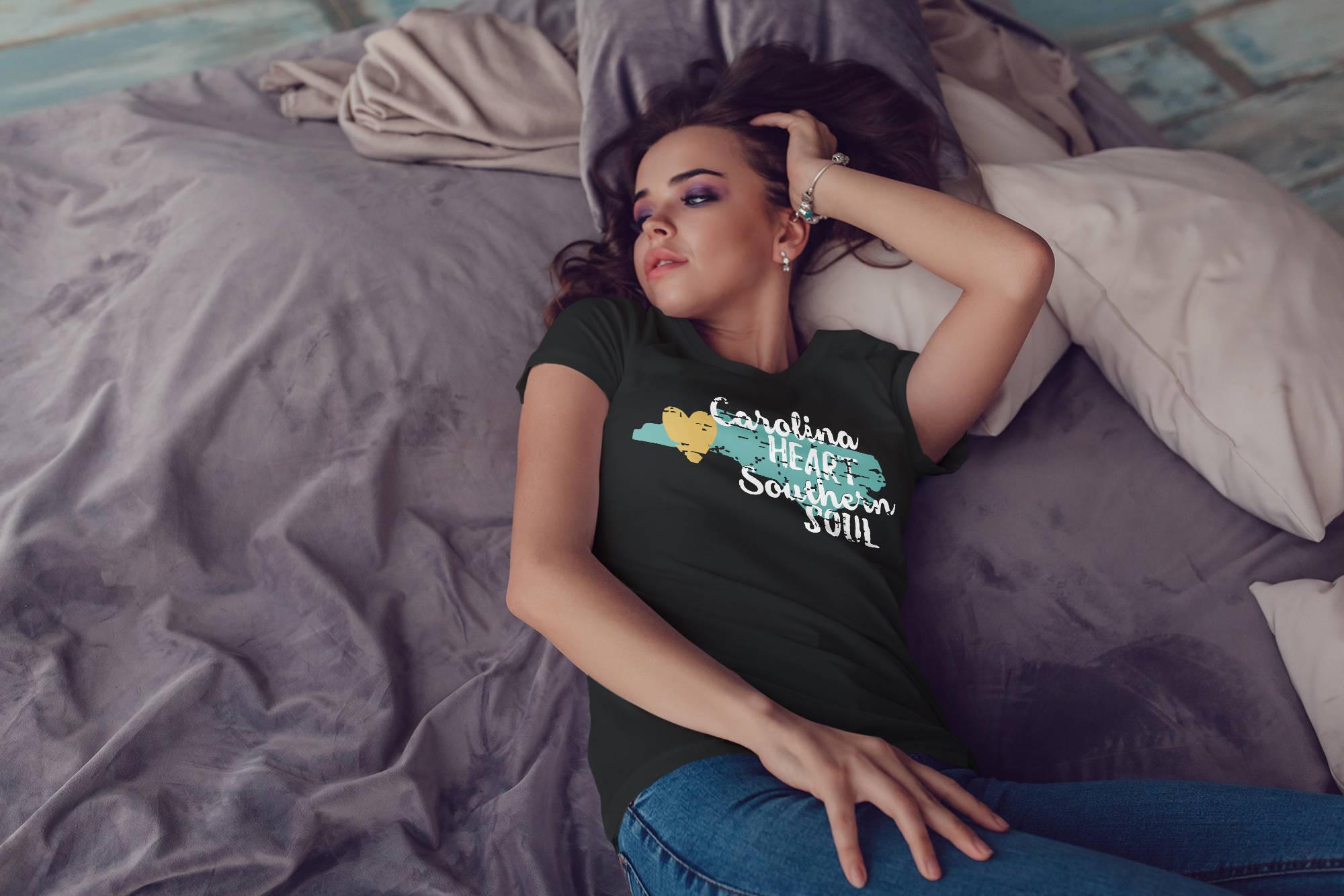 I Love Heart North Carolina Ladies T-Shirt