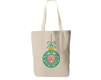 Personalized Christmas Tote Bag - Monogrammed Ornament Bag - Monogram Christmas Tote - Personalized Tote Bag - Holiday Tote Bag - Monogram