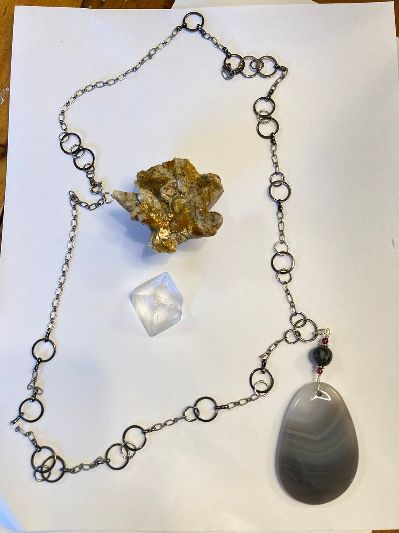Labradorite and Garnet Pendant on 29 Long Silver and Gun Metal Chain necklace Grey Banded Agate