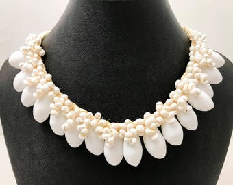 White mongo cowrie shell necklace