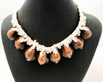Brown and white mongo cowrie shell necklace