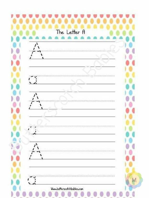 Alphabet Worksheets Letter Tracing Sheet Kindergarten Etsy