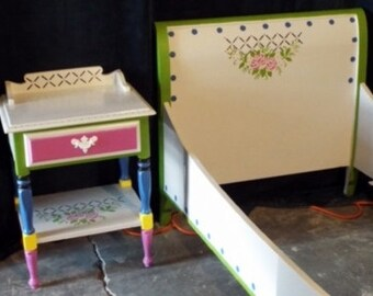 Hand Painted, Solid wood, Girls Bed and Nightstand