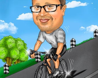 Cyclist Gift Portrait Caricature from Photo / gift for cyclist / gifts for cyclists / cyclist cartoon / cycling gifts