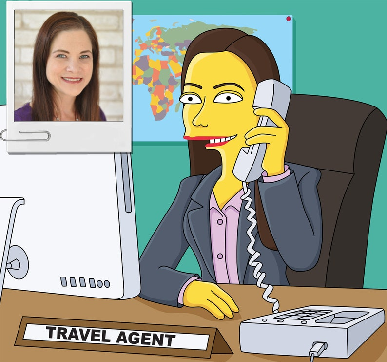 Travel Agent Gift - Custom Portrait as Yellow Cartoon Character / Travel  Agent Cartoon / Travel Agents Gift Idea / travel agent gifts