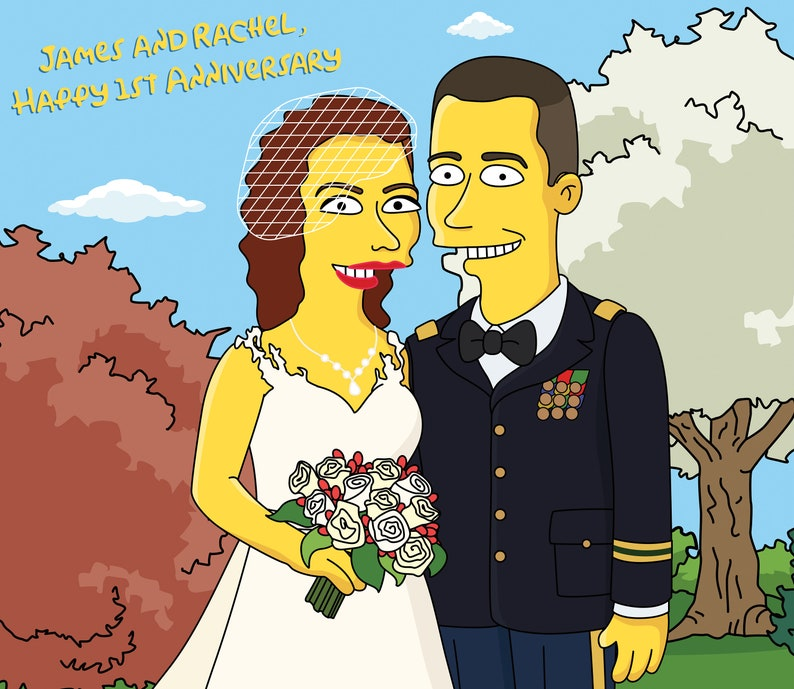 Military Wedding Couple Portrait As Yellow Characters Etsy