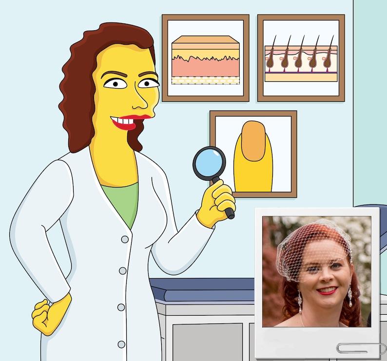 Dermatologist Gift - Custom Portrait as Cartoon Character / skin doctor  gift / dermatology nurse gift / dermatology office gift