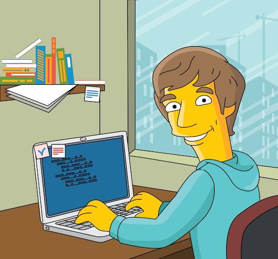 Programmer Gift Custom Portrait As Yellow Cartoon Character Etsy