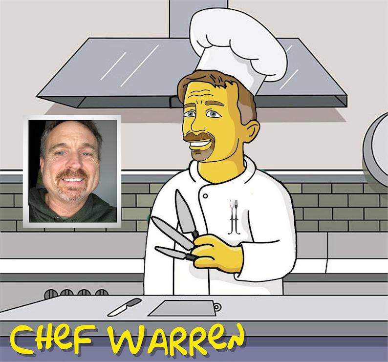 Chef Gift   Custom Portrait as Yellow Character / custom chef image 0