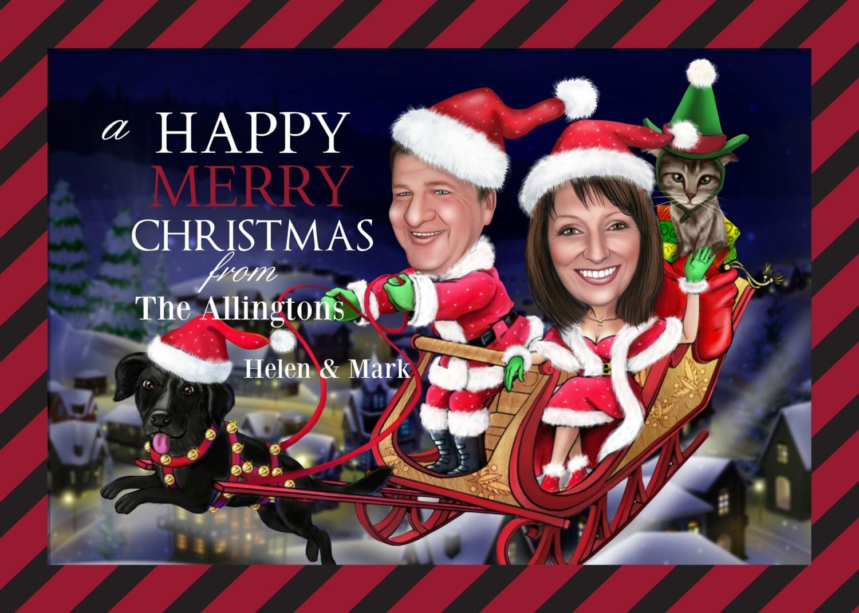 Christmas CARICATURE greeting card / Custom Xmas Card / Xmas   Etsy