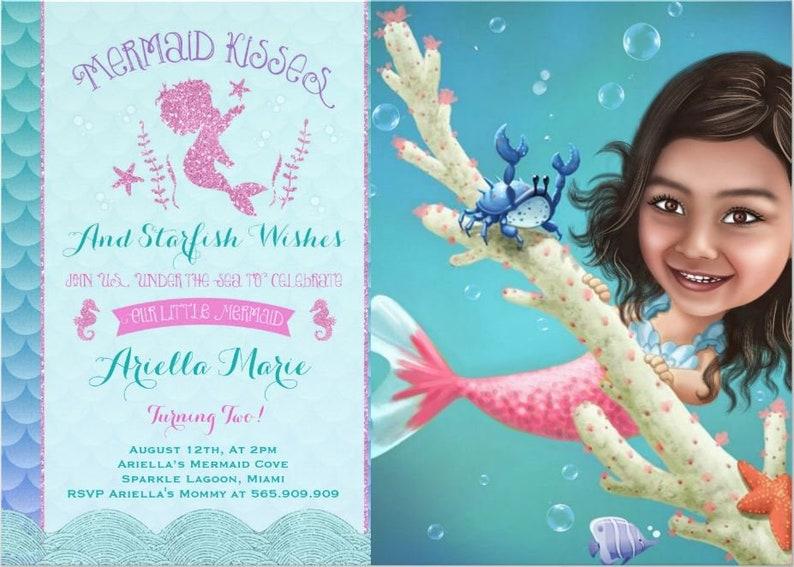 Mermaid Invitation Custom Birthday Card