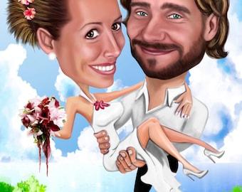 Wedding Couple Cartoon from your Photo / wedding caricature / wedding cartoon / personalize wedding / wedding illustration /wedding portrait