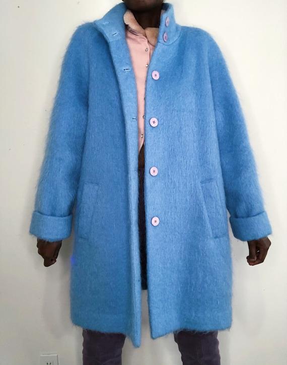 Rare Vintage Y2K Pastel Blue Mohair Alpaca Oversiz
