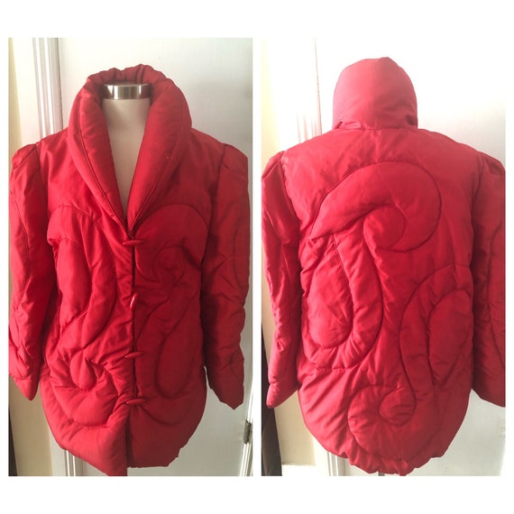 Vintage 1980s Bill Blass Red Down Oversized Puffer