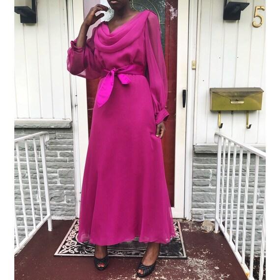 VTG 1970s Estevez Long Sleeve Maxi Chiffon Dress J