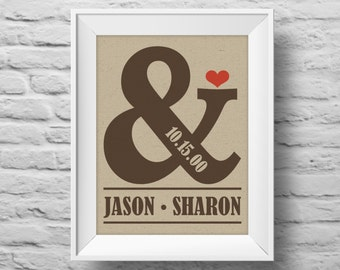 AMPERSAND ANNIVERSARY unframed art print Typographic poster, inspirational print, custom wall decor, wedding anniversary art. (R&R0051)