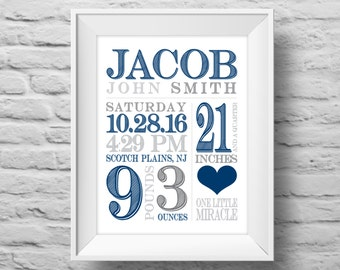 BABY BOY STATS One Little Miracle unframed art print Typographic poster, inspirational print, baby nursery wall decor, quote art. (R&R0154b)