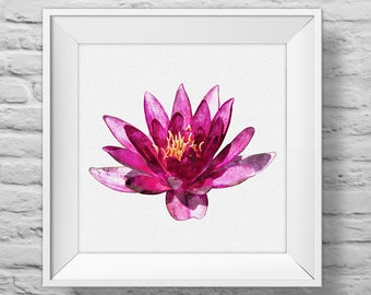 WATERLILY IN PURPLE - unframed square art print, inspirational, nature, floral, watercolor, photography, wall decor. (R&R0133)
