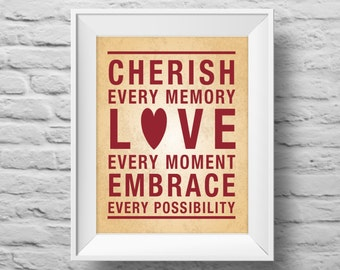CHERISH EVERY MEMORY unframed Typographic poster, inspirational print, self esteem, love, wall decor, quote art. (R&R0116)