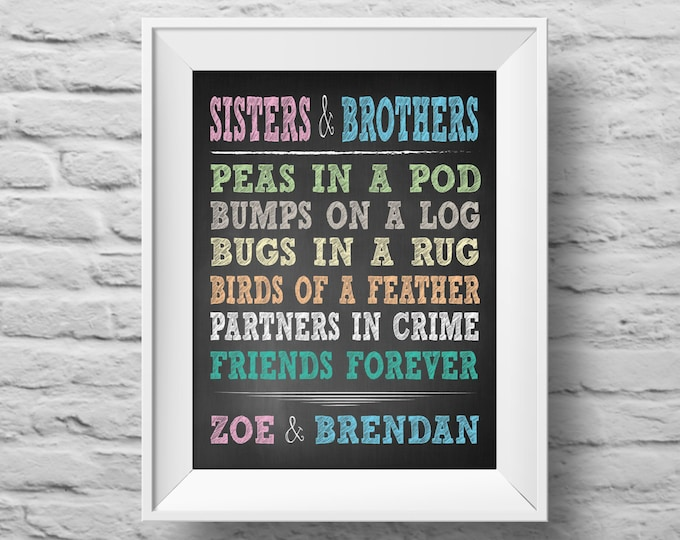 SISTERS AND BROTHERS unframed art print Typographic poster, inspirational print, self esteem, wall decor, quote art. (R&R0085)